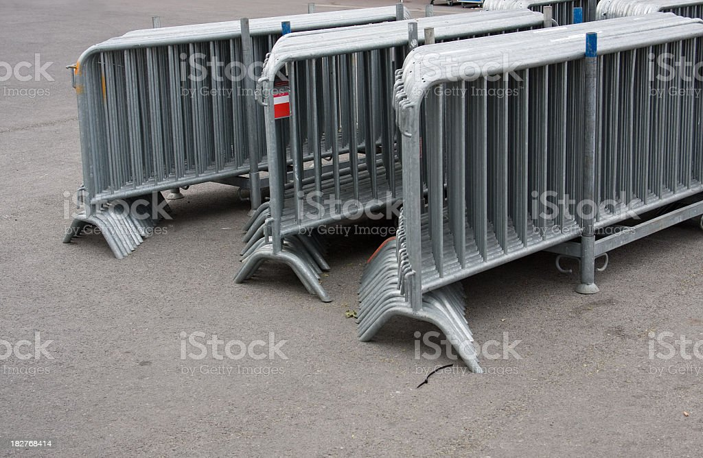 Bunch of pedestrian barriers royalty-free stock photo