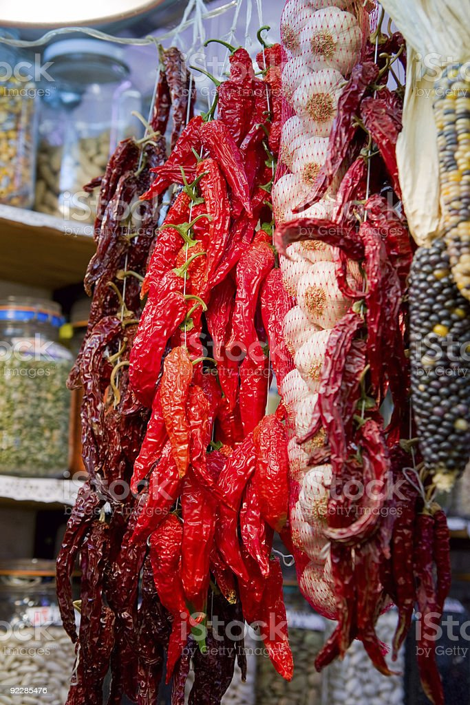 Bunch of peppers and garilc royalty-free stock photo