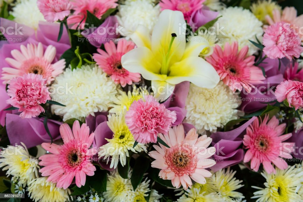 Bunch of pink lily flowers for a wedding decoration interior. Sweet background for love and happy stock photo