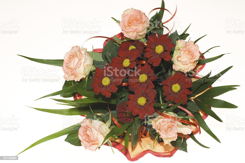 bunch of pink roses and red flowers royalty-free stock photo