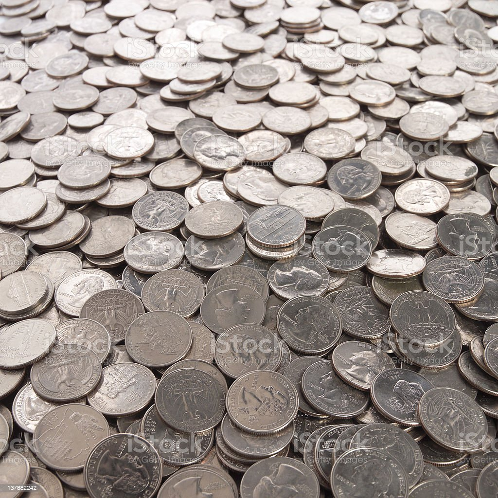 Bunch of quarters stock photo