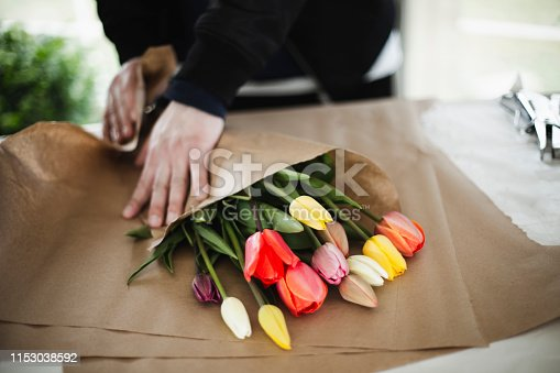 flower, bouquet, wrapping, springtime