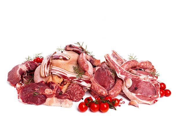 Racimo de materia prima de carne - foto de stock