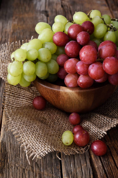 Bunch of red and white grapes stock photo