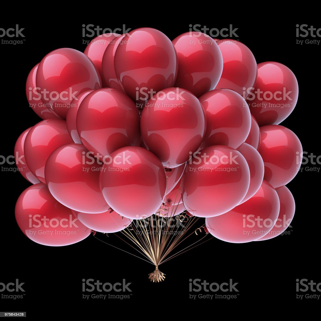 Bunch of red balloons on black background stock photo