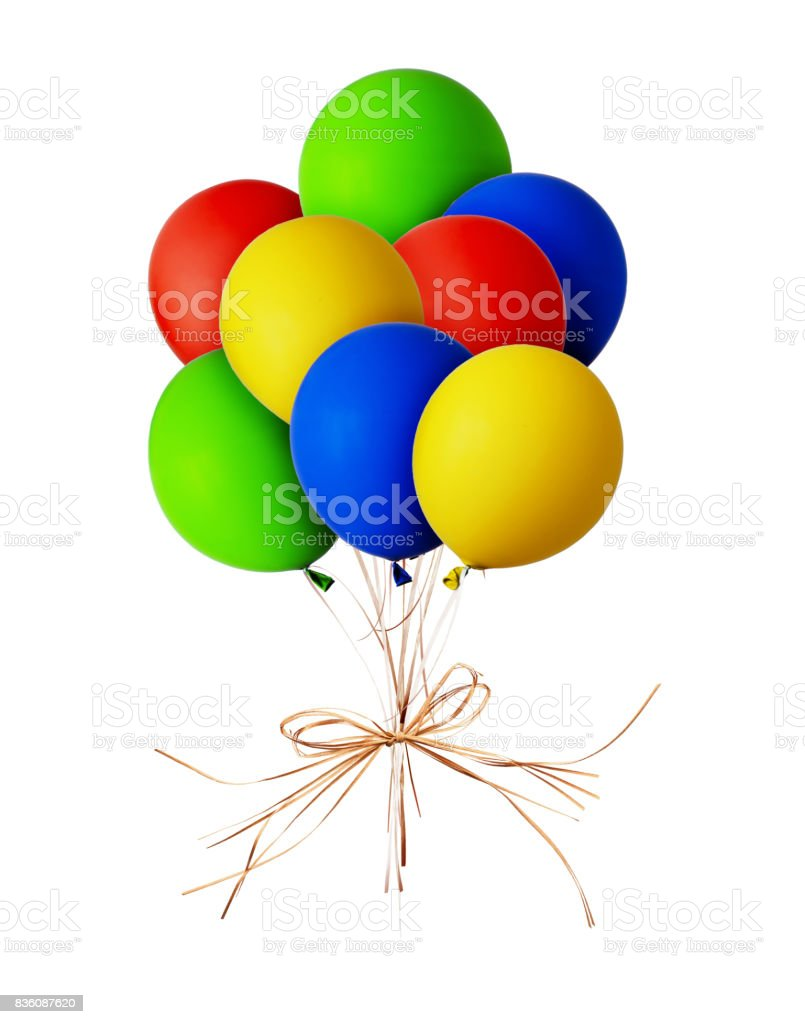 Bunch of red, blue, green and yellow balloons stock photo