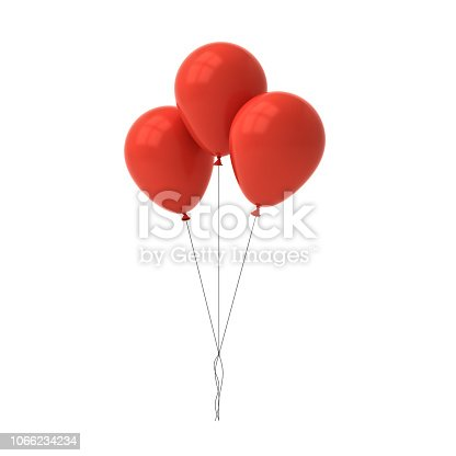 istock Bunch of red glossy balloons isolated over white background with window reflections 3D rendering 1066234234