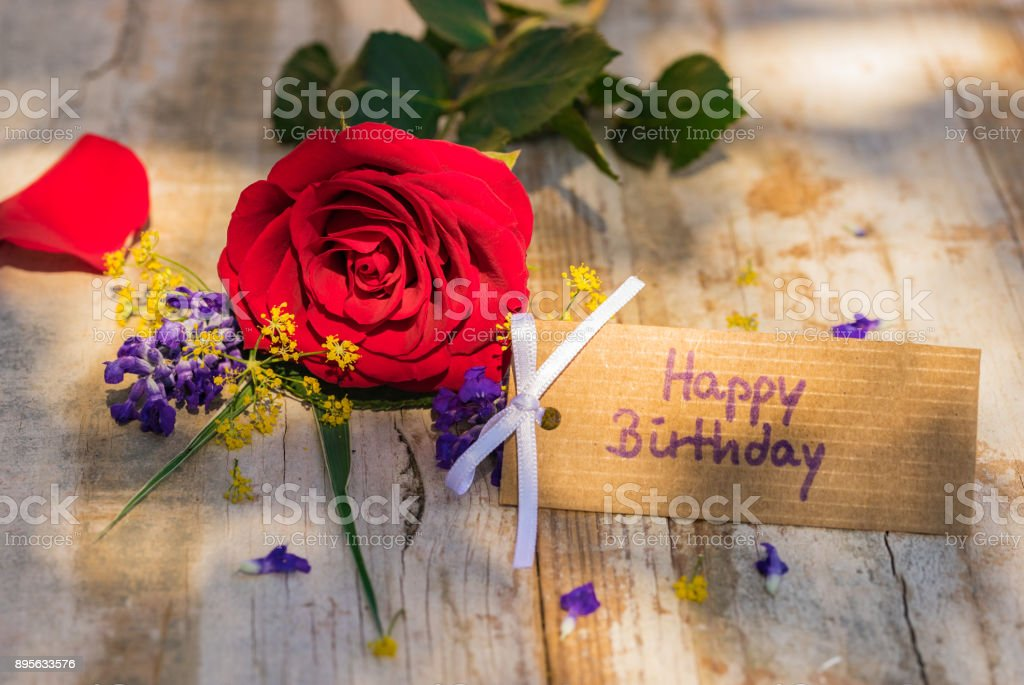 Bunch Of Red Rose Flower And Happy Birthday Greeting Card Royalty Free Stock Photo