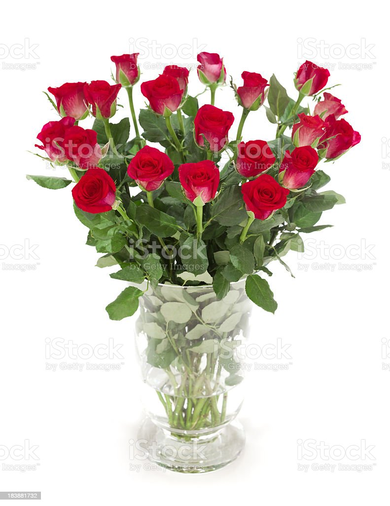 Bunch of Red Roses in a vase stock photo