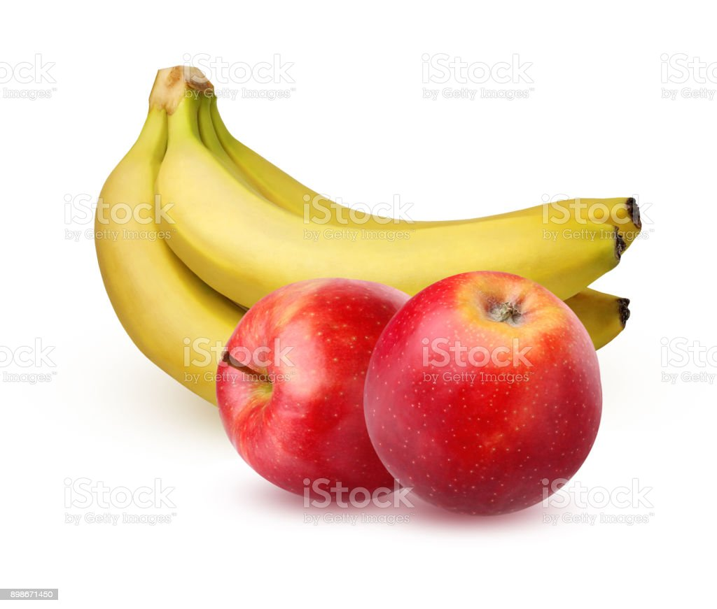 Bunch of ripe bananas and apples, isolated on a white background. stock photo