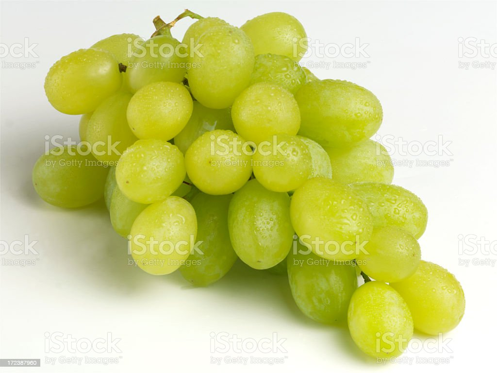 Bunch of ripe juicy green grapes off the vine royalty-free stock photo