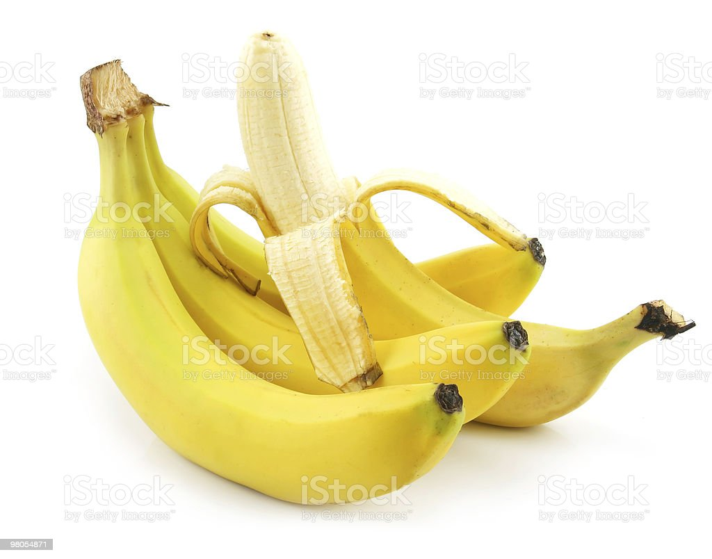 Bunch of Ripe Peeled Banana Isolated on White royalty-free stock photo