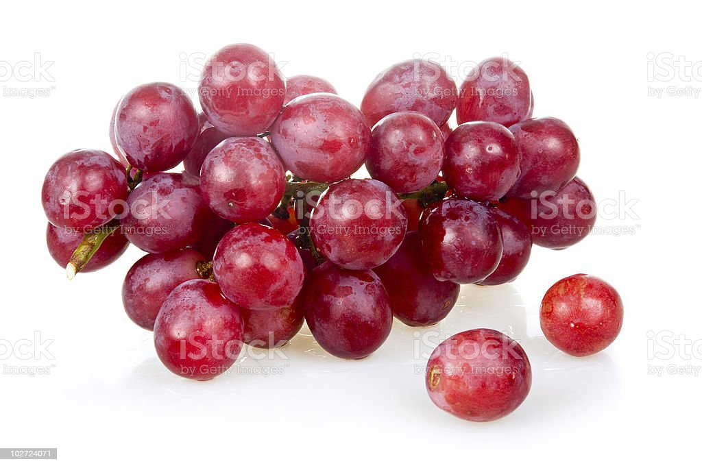Bunch of ripe pink grapes isolated royalty-free stock photo