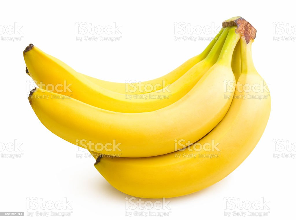 A bunch of ripe yellow bananas on white background stock photo