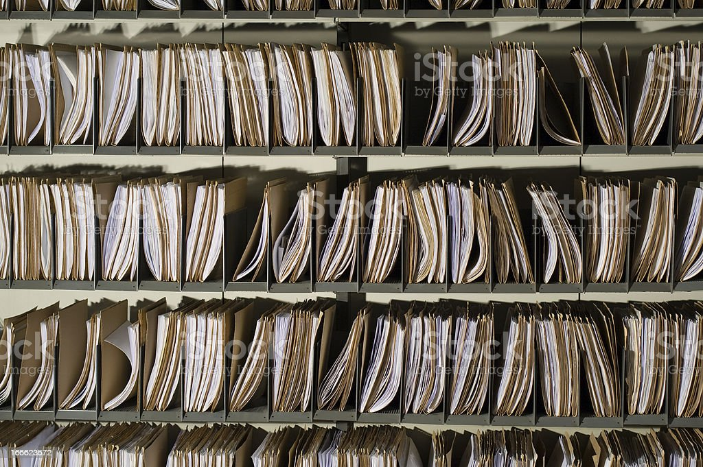 A bunch of rows full of file folders royalty-free stock photo