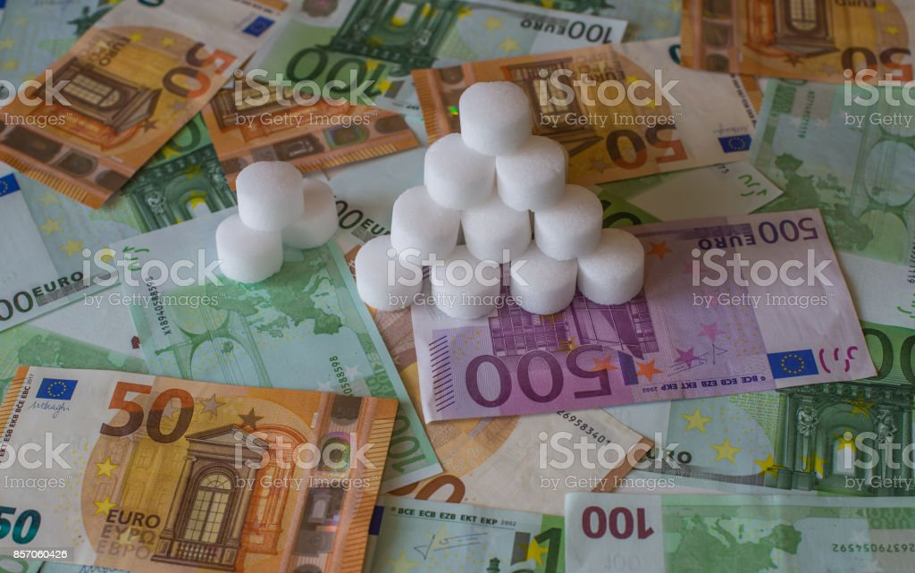 A bunch of salt tablets on the European money stock photo