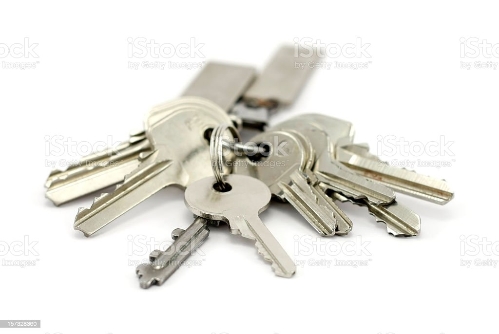 A bunch of silver keys on keychain stock photo