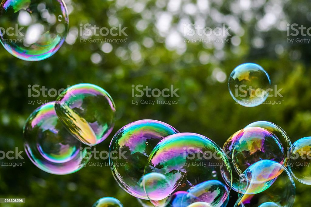 bunch of soap bubbles close up stock photo