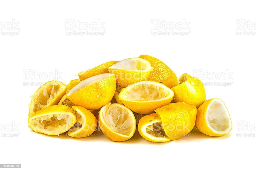 Bunch of sqeezed lemons stock photo