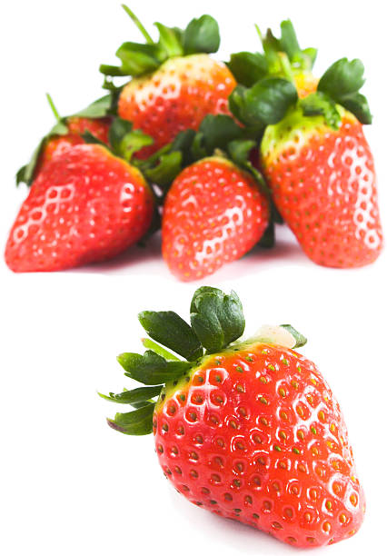 bunch of strawberries on white background stock photo