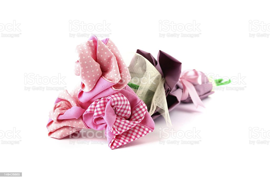 Bunch of textile roses stock photo