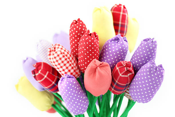 Bunch of textile tulips stock photo
