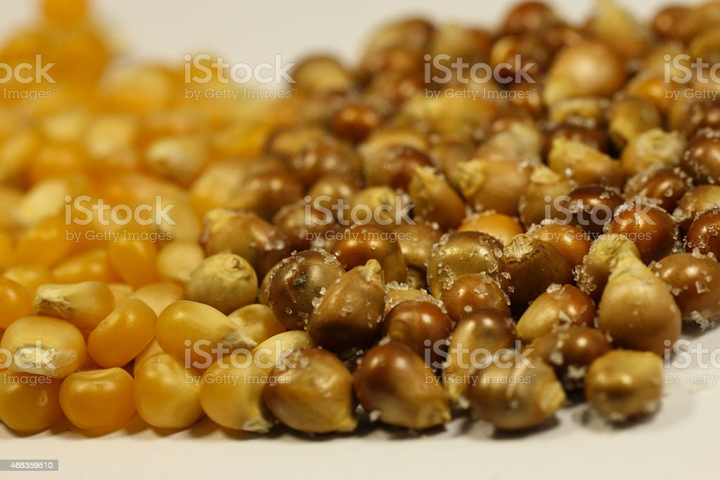 Bunch of toasted and raw corn grains royalty-free stock photo