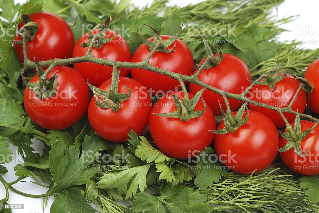Bunch of tomatoes on a green parsley royalty-free stock photo