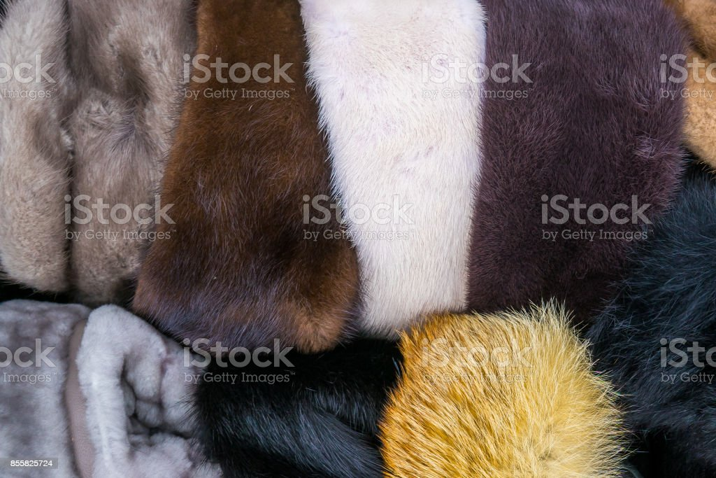 Bunch of Traditional Russian Hats in Different Colors stock photo