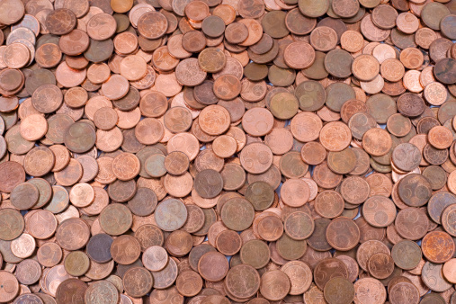 Bunch of used and worn euro cents - european currency