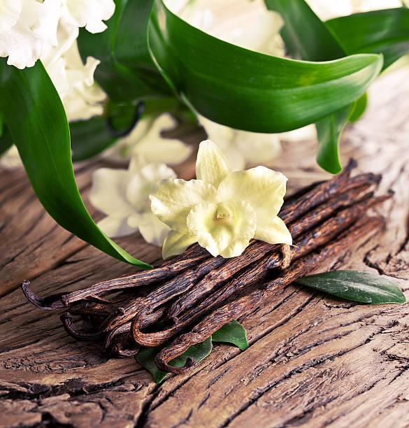 tas de bâtons de vanille et de fleur. - vanille photos et images de collection