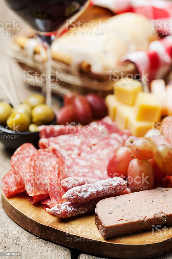 Bunch of various types of food representing antipasti stock photo