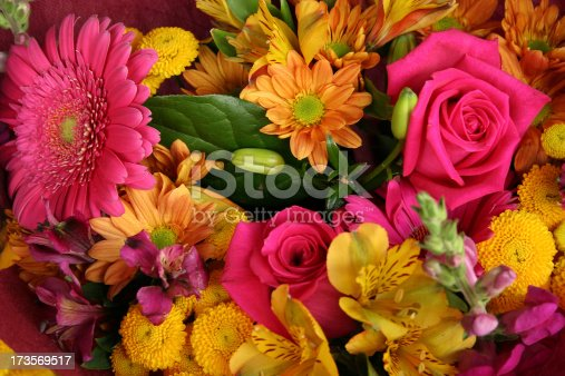 Bunch of Colorful Flowers in a bouquet at the market