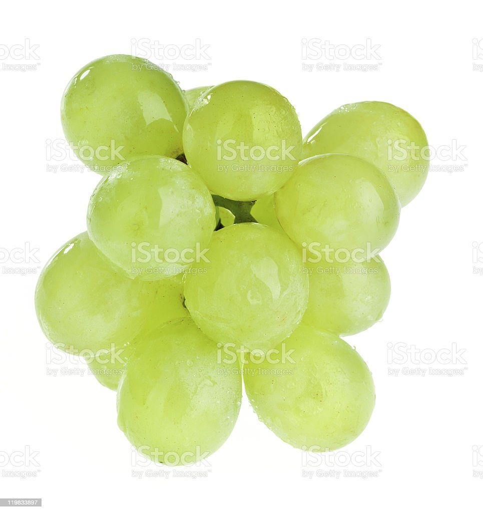 Bunch of white grapes with water drops stock photo