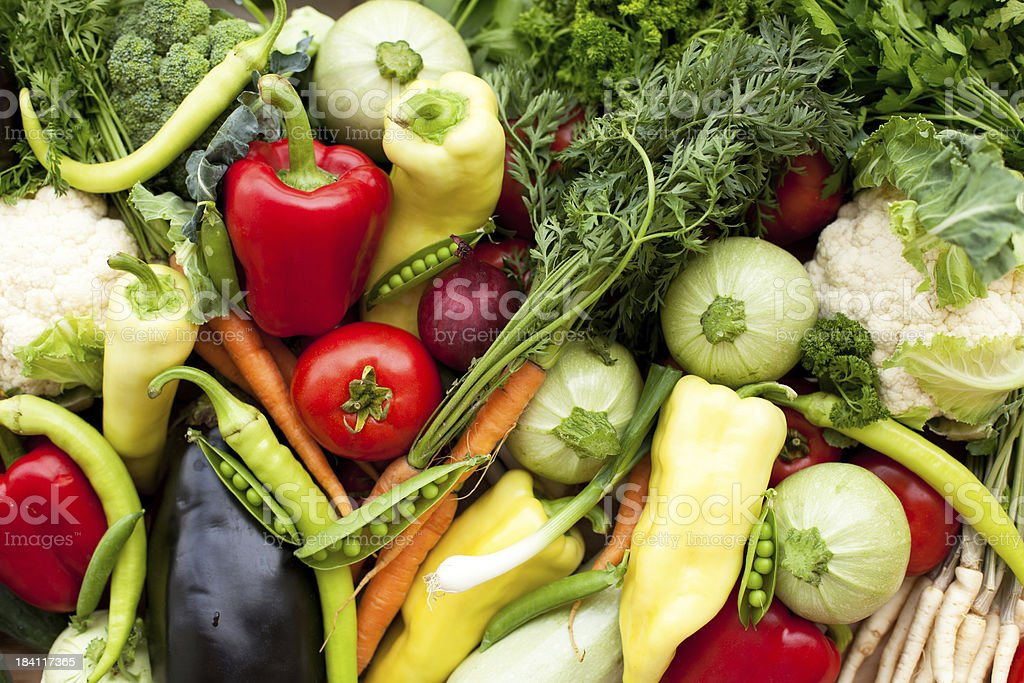 Bunch of whole assorted fresh organic vegetables stock photo