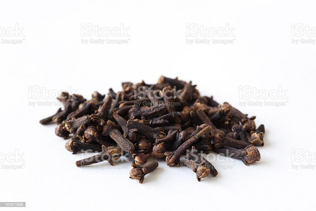 Bunch of whole cloves on a white background royalty-free stock photo