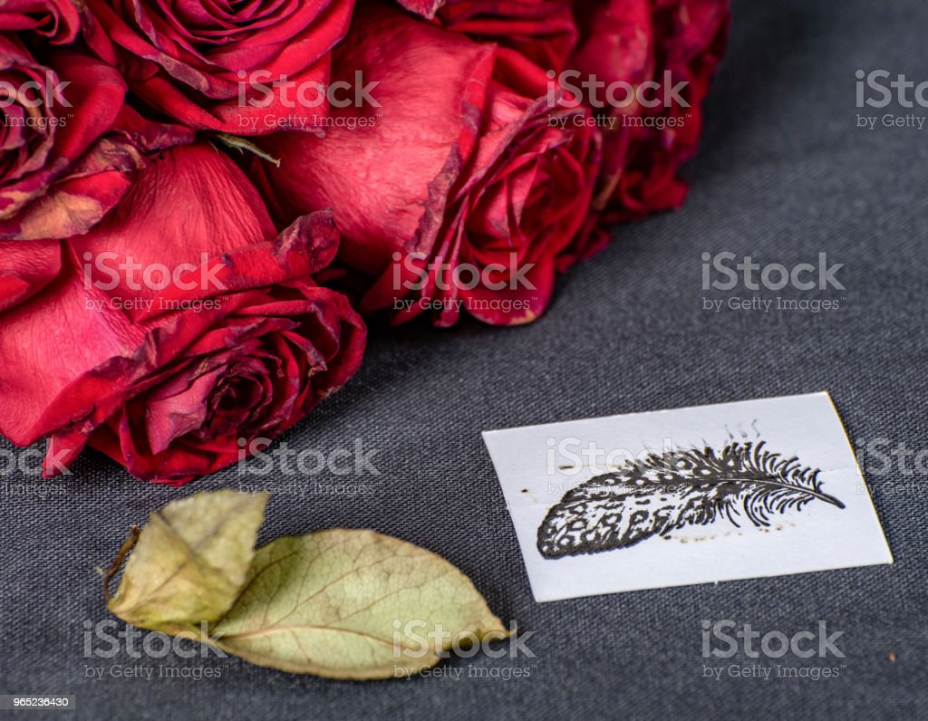Bunch of wilting red roses with hand drawn card nearby. royalty-free stock photo