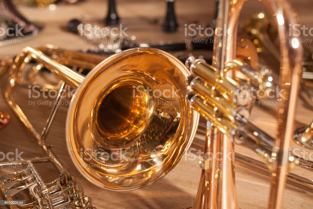 A bunch of Wind Instruments stock photo
