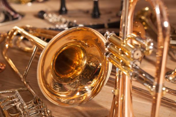 Eine Reihe von Blasinstrumenten – Foto