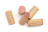Bunch of wine corks Isolated on white background. Top view. Flat lay