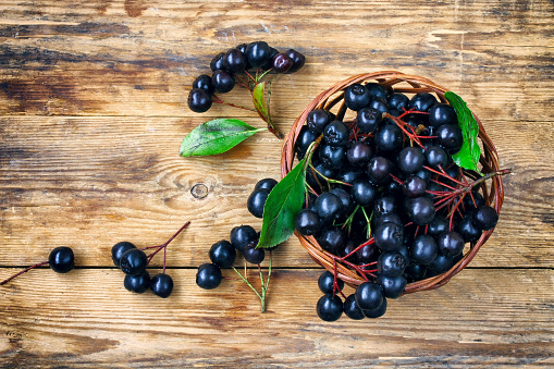 bunches of chokeberry in wicker basket on wooden table