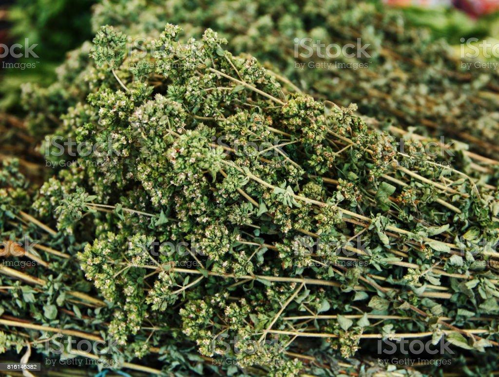 Bunches of dry oregano stock photo
