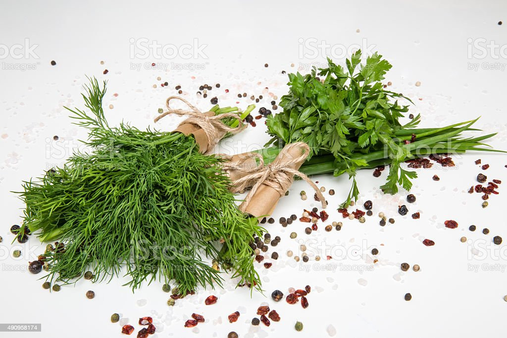 bunches of fresh herbs and spices