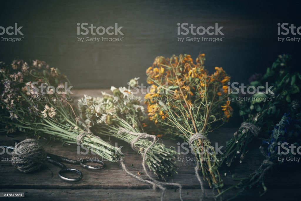 Bunches of healing herbs on wooden board. Herbal medicine. Retro...
