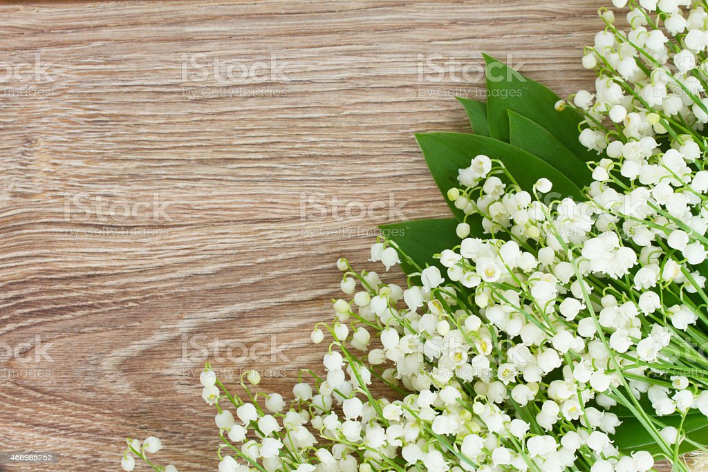 fresh lilly of the valley flowersborder on wooden background