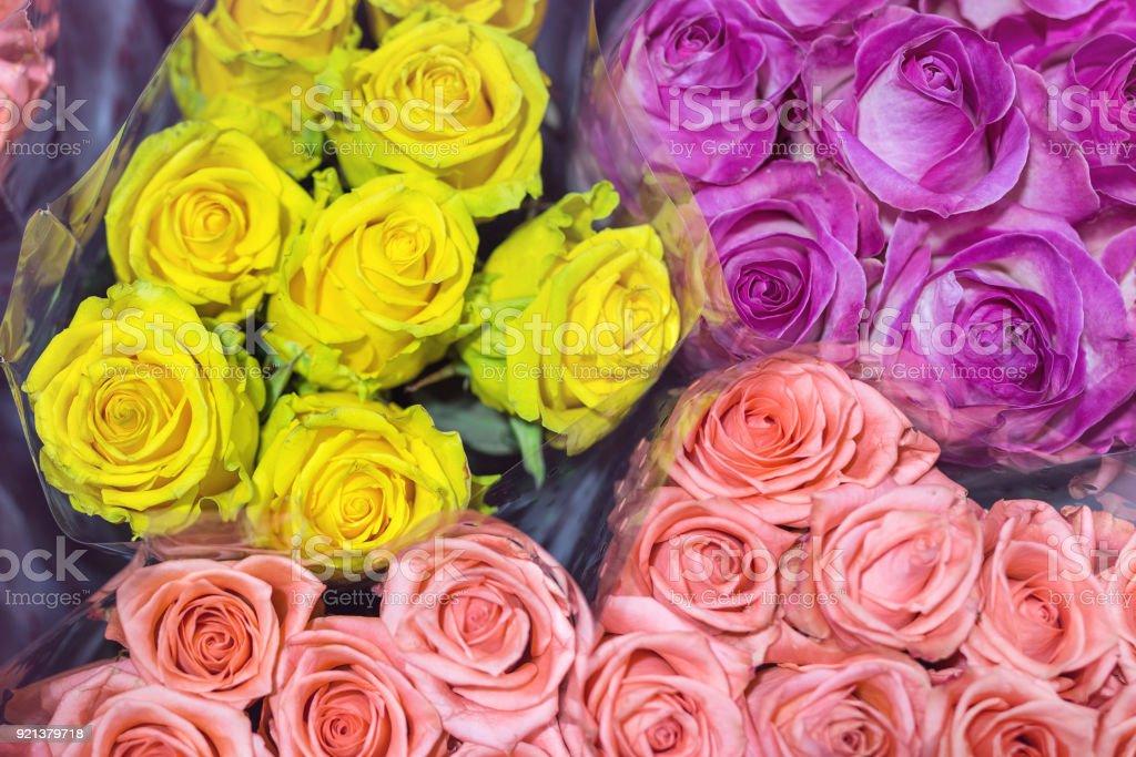 Bouquets De Roses Multicolores Fond De Fleurs Fraiches Service De