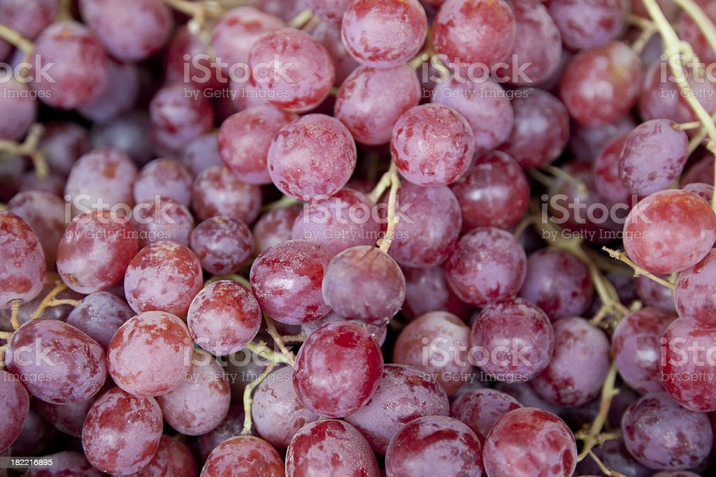 Bunches of Red Grapes at Outdoor Market, Organic Food royalty-free stock photo
