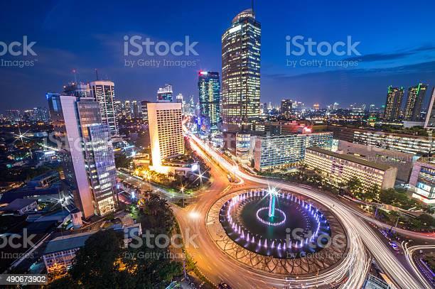 Bundaran Hi Jakarta Landmark At Night Stock Photo - Download Image Now