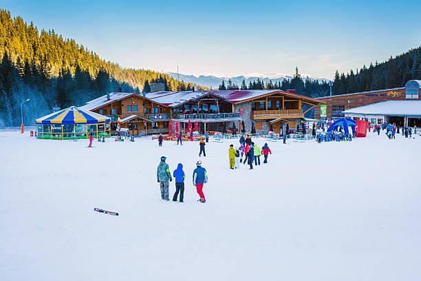 Bunderishka polyana, ski station, cable car lift, Bansko, Bulgaria stock photo