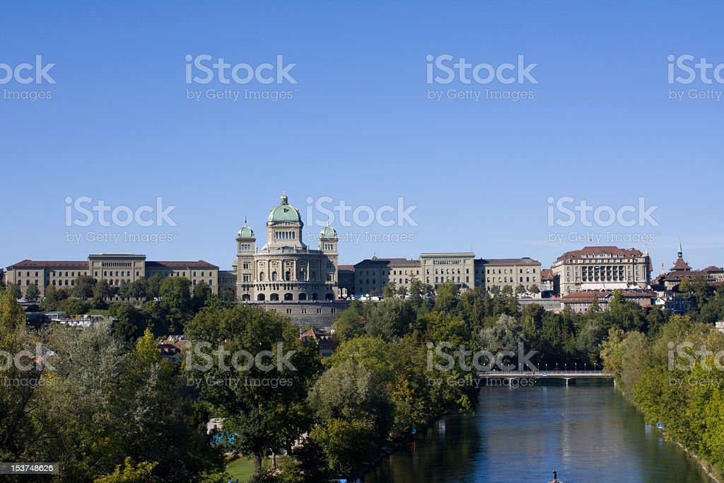 Bundeshaus and River Aare in Bern royalty-free stock photo